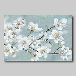 cheap Floral/Botanical Paintings-Oil Painting Hand Painted - Abstract Abstract Landscape Comtemporary Modern Rolled Canvas White Blossoms