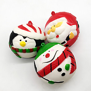 cheap Reborn Doll-Squishy Toy Squeeze Toy Jumbo Squishies Stress Reliever Christmas Santa Claus Soft Stress and Anxiety Relief Slow Rising PU For Kid's Adults' Men and Women Boys and Girls Gift Party Favor 3 pcs