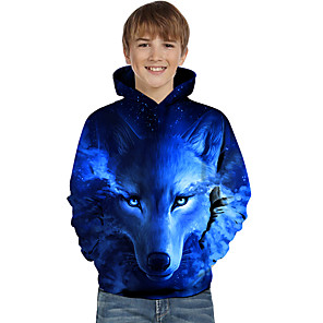 cheap novelty kitchen tools-Kids Toddler Boys' Active Basic Wolf Geometric Color Block Animal Print Long Sleeve Hoodie & Sweatshirt Blue