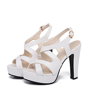 cheap Women's Sandals-Women's Sandals Spring / Summer Pumps Open Toe Sexy Sweet Preppy Daily Party & Evening Buckle Solid Colored PU White / Black