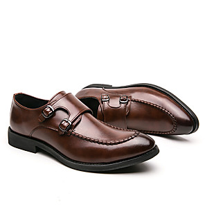cheap Men's Slip-ons & Loafers-Men's Fall British Party & Evening Office & Career Oxfords Leather Handmade Dark Brown / Black
