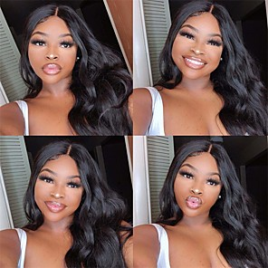 cheap Synthetic Trendy Wigs-Synthetic Wig Body Wave Middle Part Wig Long Natural Black Synthetic Hair 24 inch Women's Party New Arrival Fashion Black