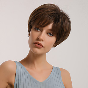 cheap Synthetic Trendy Wigs-Synthetic Wig Bangs Natural Straight Pixie Cut Side Part Neat Bang Wig Short Light Blonde Brown Synthetic Hair 10 inch Women's Cosplay Women Synthetic Blonde Brown BLONDE UNICORN