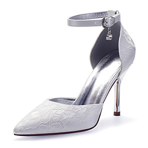 cheap Women's Heels-Women's Wedding Shoes Spring / Summer Stiletto Heel Pointed Toe Sexy Minimalism Roman Shoes Wedding Party & Evening Rhinestone / Lace Solid Colored Lace White / Champagne / Ivory