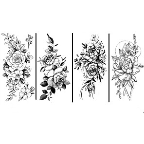 cheap Tattoo Stickers-4 pcs Black big flower Body Art Waterproof Temporary Sexy thigh tattoos rose For Woman Flash Tattoo Stickers