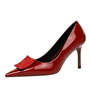 cheap Women's Heels-Women's Heels Summer Pumps Pointed Toe Daily Solid Colored PU Nude / Black / Red
