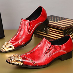 cheap Men's Slip-ons & Loafers-Men's Dress Shoes Summer Daily Party & Evening Loafers & Slip-Ons Cowhide Handmade Black / Red