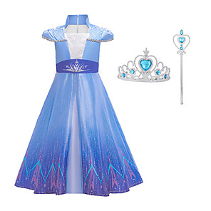 cheap Movie & TV Theme Costumes-Movie / TV Theme Costumes Frozen Dress Cosplay Costume Girls' Movie Cosplay Mesh Halloween Blue Dress Wand Halloween New Year Polyester / Cotton