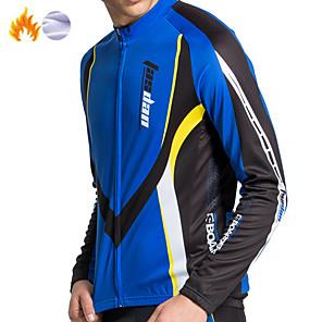 cheap Cycling Jerseys-Men's Long Sleeve Cycling Jersey Fleece Red Blue Patchwork Bike Jersey Mountain Bike MTB Road Bike Cycling Sports Clothing Apparel / Stretchy