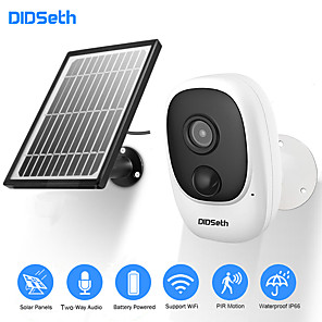 cheap Indoor IP Network Cameras-DIDseth 1080P Rechargeable Battery Powered IP Camera Solar Power Charging 1080P HD Outdoor Wireless Security WiFi Camera