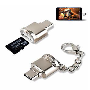 cheap USB Flash Drives-Mini Portable Card Reader Type C Micro SD TF Memory Card Reader OTG Adapter USB 3.1 Card Reader for Phone