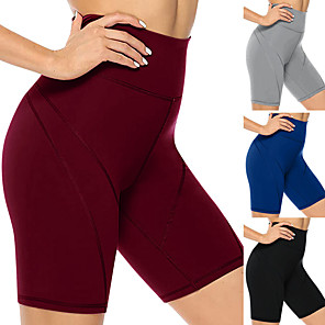 cheap Exercise, Fitness & Yoga Clothing-Women's High Waist Yoga Shorts Shorts Tummy Control Butt Lift 4 Way Stretch Black Burgundy Blue Spandex Fitness Gym Workout Running Sports Activewear High Elasticity / Breathable / Quick Dry