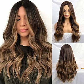 cheap Synthetic Trendy Wigs-Synthetic Wig Natural Wave Middle Part Wig Long Ombre Brown Synthetic Hair 24 inch Women's Party Fashion Ombre Hair Brown