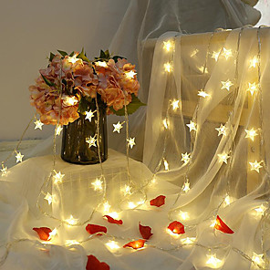 cheap LED String Lights-6M 40LED Star String Lights Twinkle Garlands Battery Powered LED Fairy Lights For Christmas Wedding Holiday Party Decorative Lamp Without Battery