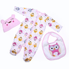 cheap Dolls Accessories-Reborn Baby Dolls Clothes Reborn Doll Accesories Cotton Fabric for 22-24 Inch Reborn Doll Not Include Reborn Doll Owl Soft Pure Handmade Girls' 3 pcs