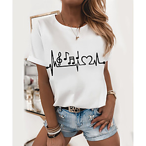 cheap Abstract Paintings-Women's T-shirt Graphic Prints Round Neck Tops Loose 100% Cotton White