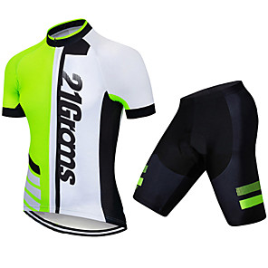cheap Cycling Jersey & Shorts / Pants Sets-21Grams Men's Short Sleeve Cycling Jersey with Shorts Spandex Polyester Black / Green Patchwork Geometic Bike Clothing Suit UV Resistant Breathable 3D Pad Quick Dry Sweat-wicking Sports Patchwork