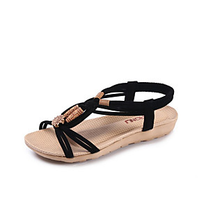cheap Women's Sandals-Women's Sandals Roman Shoes / Gladiator Sandals Summer Flat Heel Open Toe Daily PU Light Brown / Black / Beige
