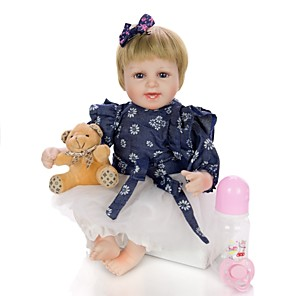 cheap Stuffed Animals-KEIUMI 18 inch Reborn Doll Baby & Toddler Toy Reborn Toddler Doll Baby Girl Gift Cute Lovely Parent-Child Interaction Tipped and Sealed Nails Half Silicone and Cloth Body with Clothes and Accessories