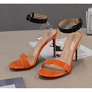 cheap Women's Sandals-Women's Sandals Summer Stiletto Heel Round Toe Daily Color Block PU Orange