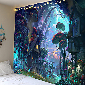 cheap Wall Tapestries-Magic series mushroom world pattern tapestries hang cloth decorative cloth cloth in the background. 100% polyester fiber material
