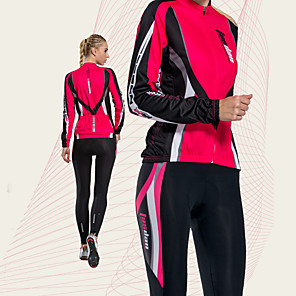 cheap Cycling Jersey & Shorts / Pants Sets-TASDAN Women's Long Sleeve Cycling Jersey with Tights Winter Fleece Polyester Red Blue Stripes Patchwork Bike Clothing Suit Breathable 3D Pad Quick Dry Reflective Strips Back Pocket Sports Stripes