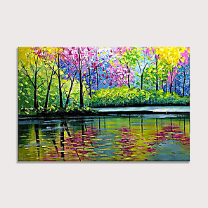 cheap Abstract Paintings-100% Hand Painted Oil Paintings  Abstract Landscape Modern Canvas Wall Art Knife Painting  Park Green Forest Reflection Artwork Home Decorations for Living Room Bedroom Dining Room Wall Decor Rolled W