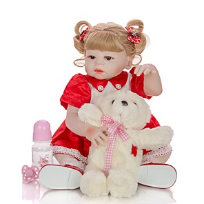 cheap Toy Cars-KEIUMI 22 inch Reborn Doll Baby & Toddler Toy Reborn Toddler Doll Baby Girl Gift Cute Washable Lovely Parent-Child Interaction Full Body Silicone 23D114-C156-H11-S24-S05-T16 with Clothes and