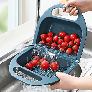 cheap Bathroom Gadgets-Folding Plastic Colander Drain Basket Fruit Vegetable Washing Strainer Collapsible Drainer Kitchen Tool