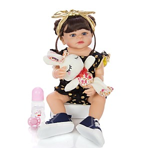 cheap Reborn Doll-KEIUMI 22 inch Reborn Doll Baby & Toddler Toy Reborn Toddler Doll Baby Girl Gift Cute Washable Lovely Parent-Child Interaction Full Body Silicone 22D05-C301-S11-T23 with Clothes and Accessories for