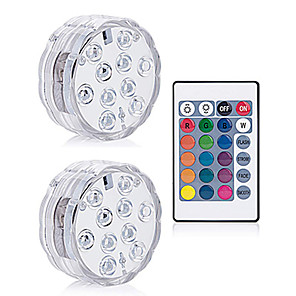 cheap Outdoor Wall Lights-2Pcs 10 Led Remote Controlled RGB Submersible Light Underwater Night Lamp Fish Tank Swimming Pool Aquarium Vase Christmas Wedding Party Aquarium Decoration Lamp Battery Operated