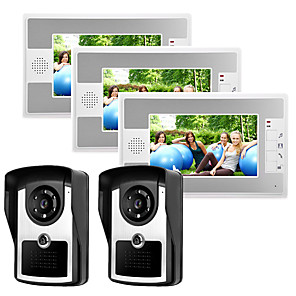 cheap Video Door Phone Systems-Wired 7 Inch Hands-free 800*480 Pixel Two To Three Video Doorphone Intercom System With Infrared Night Vision Camera