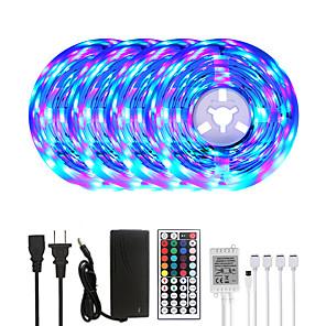 cheap LED Strip Lights-20M LED Strip Lights RGB Tiktok Lights 1200LEDs Flexible Color Change SMD 2835 with 44 Keys IR Remote Controller and 100-240V Adapter for Home Bedroom Kitchen TV Back Lights DIY Deco