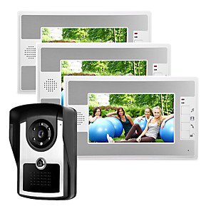 cheap Video Door Phone Systems-Wired 7 Inch Hands-free 800*480 Pixel One Tothree Video Doorphone Intercom Waterproof Camera