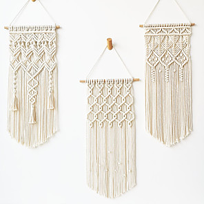 cheap novelty kitchen tools-Macrame Wall Hanging Handmade Woven Tapestry Boho Tapestry 1 Pcs Unique Tassel Bohemian Tapestries Art Wall Decor for Living Room Bedroom