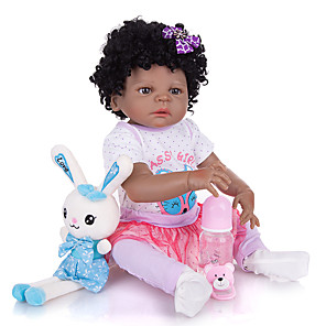 cheap Reborn Doll-KEIUMI 22 inch Black Dolls Reborn Doll Baby & Toddler Toy Reborn Toddler Doll Baby Girl Gift Cute Washable Lovely Parent-Child Interaction Full Body Silicone 23D77-C52-H98-T22 with Clothes and