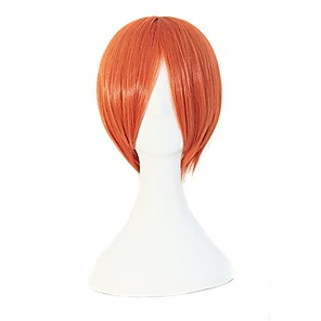 cheap Synthetic Trendy Wigs-Synthetic Wig Natural Straight With Bangs Wig Short Light Blonde Black Purple Orange Royal Blue Synthetic Hair 10 inch Men's Anime Party Adorable Black Blue