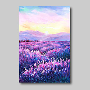 cheap Abstract Paintings-Oil Painting Hand Painted - Abstract Abstract Landscape Comtemporary Modern Stretched Canvas Lavender Field Purple Flowers