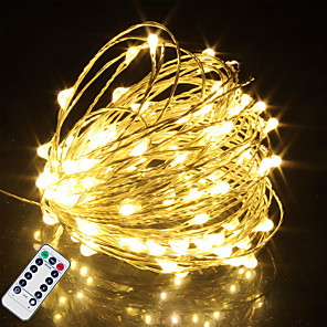 cheap LED String Lights-20M 200LED Waterproof Remote Control 8 Function Copper Wire LED String Lights Outdoor String Lights AA Battery-Powered Fairy Light Christmas Wedding Birthday Family Party Room Decoration Without Batte
