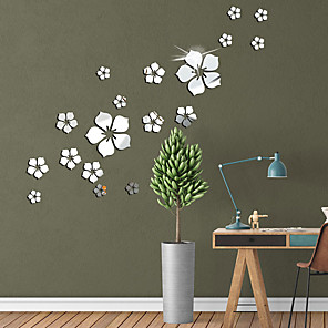 cheap Wall Stickers-Flower Pattern Wall Sticker Home Decor 3D Wall Decal Art DIY Mirror Wall Stickers Living Room Decoration Silver/Gold/Black/Red/Blue
