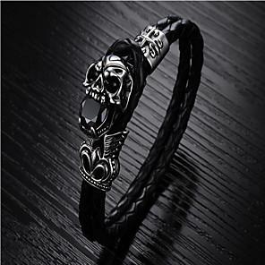 cheap Necklaces-Men's Bracelet Bangles Plaited Wrap Totem Series Fashion Titanium Steel Bracelet Jewelry Black For Party Evening Birthday