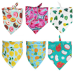 cheap Dog Clothes-Dog Cat Bandanas & Hats Dog Bandana Dog Bibs Scarf Fruit Casual / Sporty Cute Party Sports Dog Clothes Breathable White Yellow Dark Green Costume Polyster S M