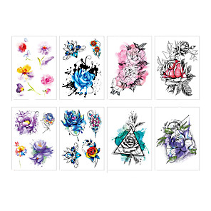 cheap Tattoo Stickers-LITBest 6 Sheets Randomly Temporary Tattoos Flowers Temporary Tattoos Stickers, Roses, Butterflies and Multi-Colored Mixed Style Body Art Temporary Tattoos for Women, Girls or Kids TH241-TH248