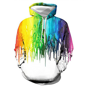 cheap Everyday Cosplay Anime Hoodies & T-Shirts-Men's Hoodie Graphic Casual Basic Hoodies Sweatshirts  Rainbow