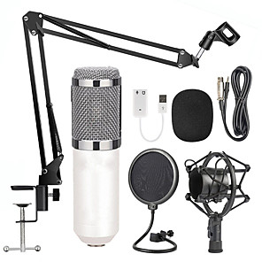 cheap Portable Speakers-BM-800 Condenser Audio 3.5mm Wired Studio Microphone Vocal Recording KTV Karaoke Microphone Set Mic W/Stand For Computer