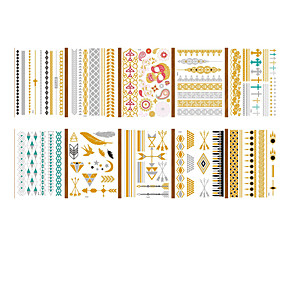 cheap Tattoo Stickers-LITBest  6 pcs Metallic Temporary Tattoos Shimmer Designs in Gold, Silver, Black and Turquoise - Fake Jewelry Tattoos