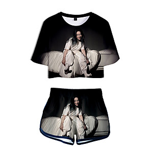 cheap Everyday Cosplay Anime Hoodies & T-Shirts-Inspired by Cosplay Billie Eilish Pants Cosplay Costume Pure Cotton Print Printing Shorts For Women's / T-shirt