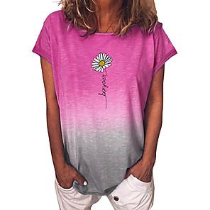 cheap Women's Sandals-Women's T-shirt Floral Color Gradient Short Sleeve Tops Blue Purple Yellow
