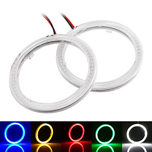 cheap Car Charger-2pcs COB LED Angel Eyes 100MM 72 SMD 12V Auto Halo Ring Car Motorcycle With Cover White Blue Red Green Yellow Mix
