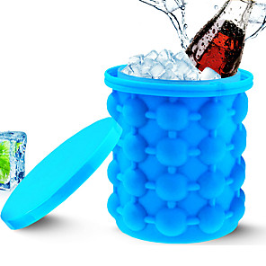 cheap novelty kitchen tools-Ice Bucket Ice Cube Maker Portable 2 in 1 Large Silicone with Lid